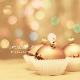 embed copyright and metadata on images - gold baubles in paper cupcake holders