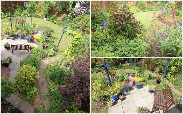 tale of two summers - wide angle view of the garden in July